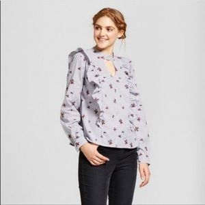 Mossimo Striped Floral Embroidered Ruffle Blouse